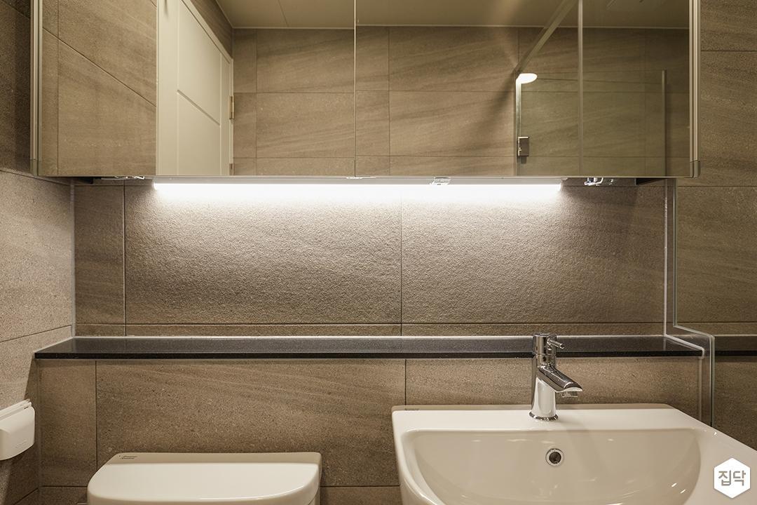 그레이,모던,심플,욕실,간접조명,세면대,수납장,거울