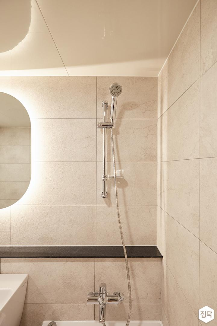 아이보리,모던,심플,욕실,간접조명,샤워기