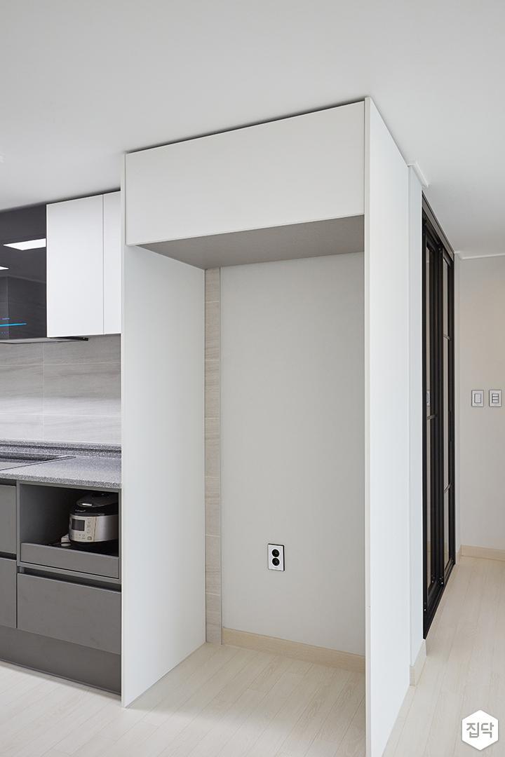 화이트,그레이,모던,심플,주방,수납장,냉장고장