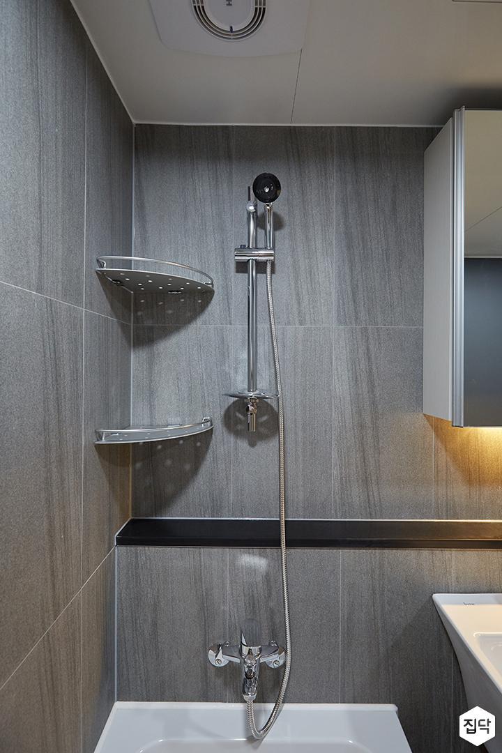 화이트,그레이,모던,심플,욕실,샤워기,코너선반