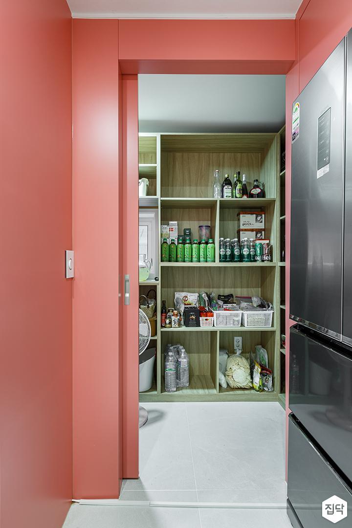 레드,모던,심플,주방,보조주방,다용도실