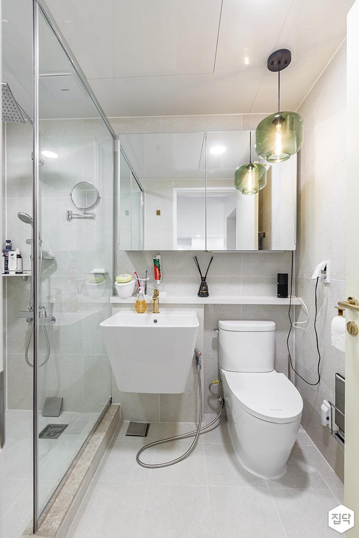 화이트,모던,심플,욕실,세면대,거울,유리파티션