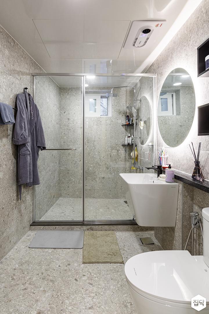 욕실,모던,세면대,거울,유리파티션
