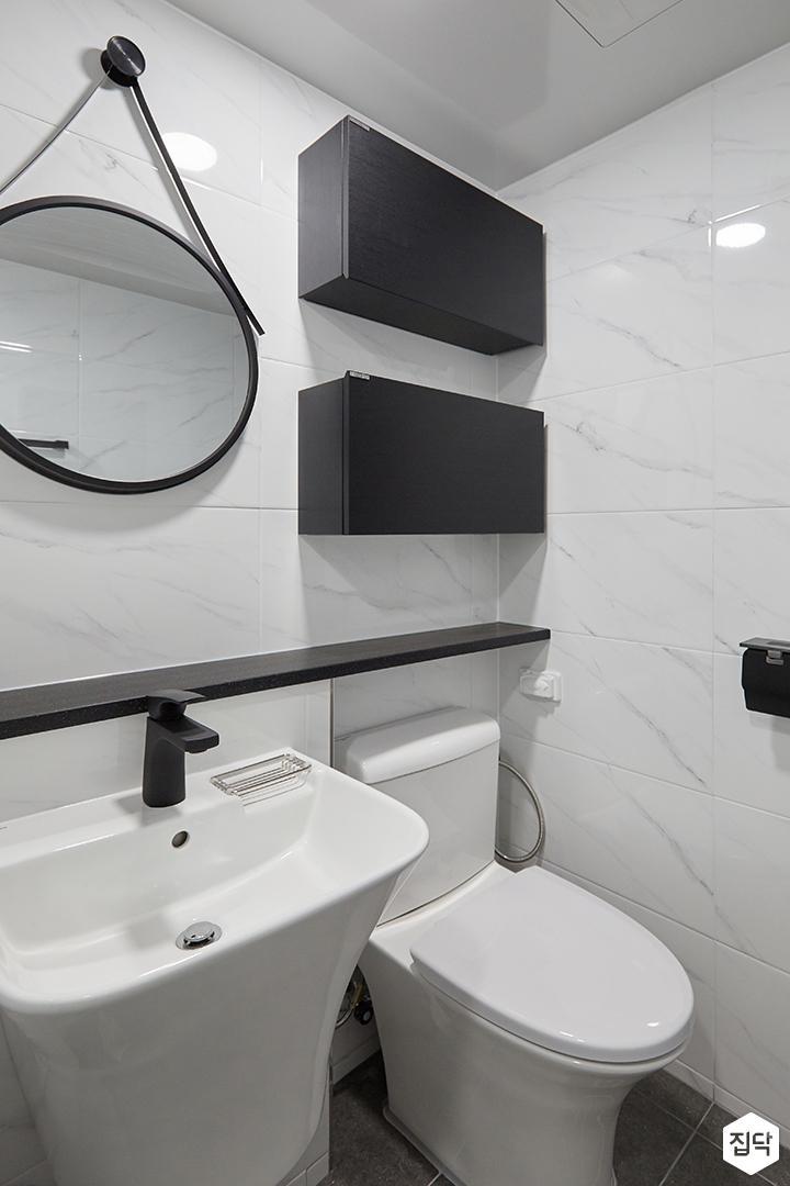 화이트,블랙,모던,심플,욕실,세면대,수납장,거울