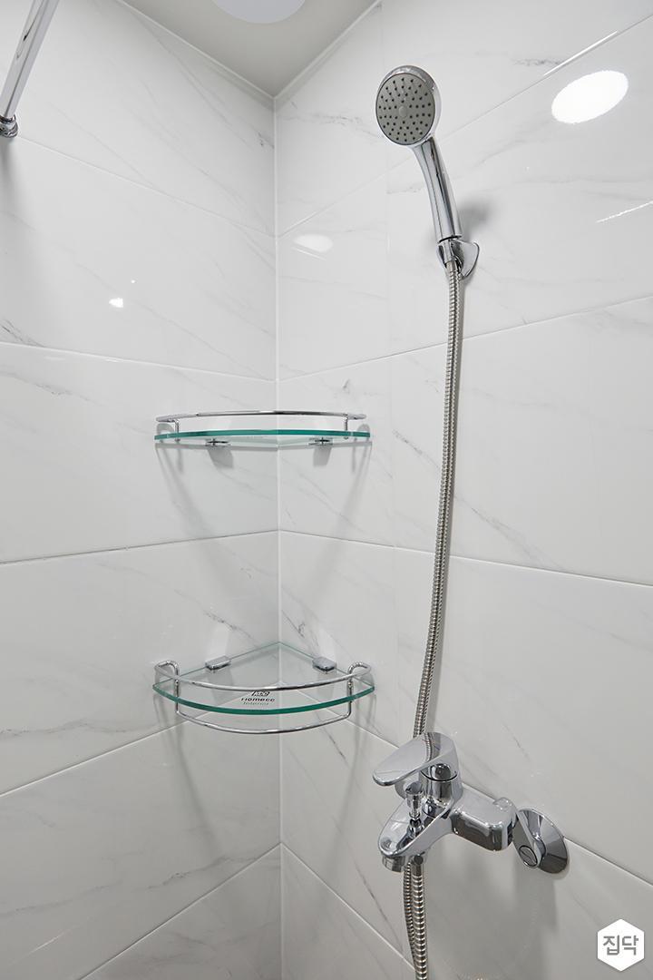 화이트,모던,심플,욕실,샤워기,코너선반
