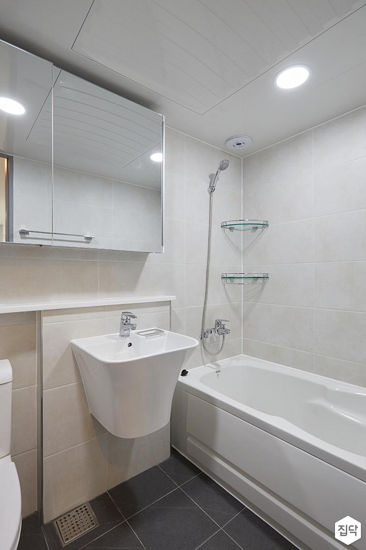 화이트,모던,심플,욕실,원형직부등,수납장,세면대,욕조,샤워기,거울