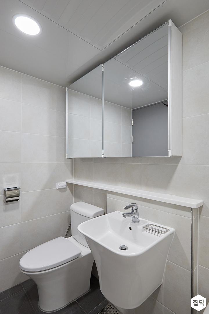 화이트,모던,심플,욕실,원형직부등,수납장,세면대,거울