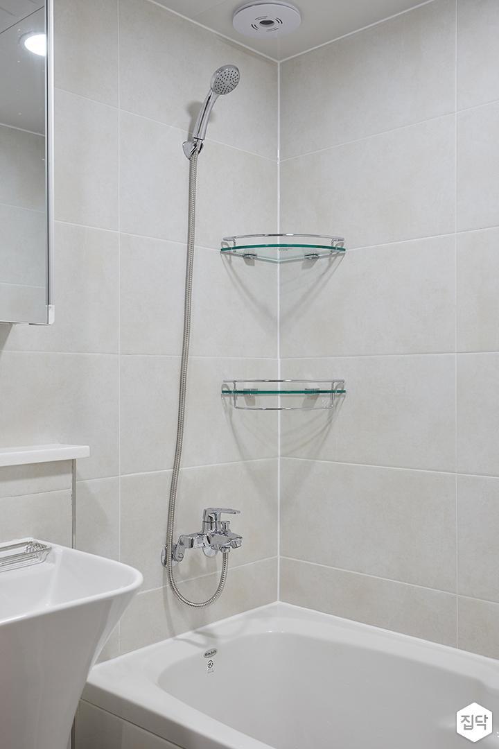 화이트,모던,심플,욕실,샤워기,코너선반,욕조