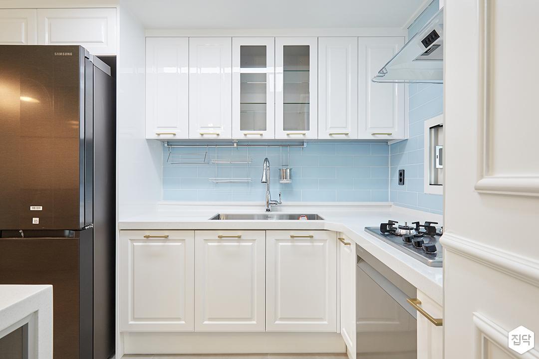 화이트,블루,모던,심플,주방,싱크대,수납장,냉장고장