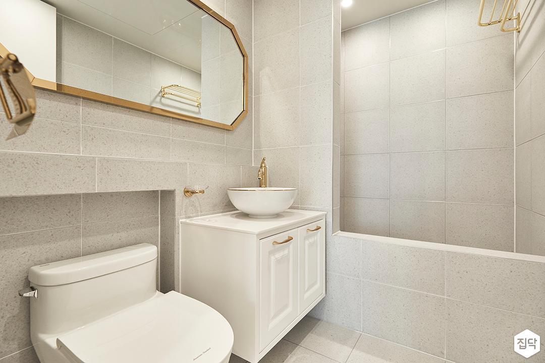 그레이,모던,심플,욕실,세면대,욕조,거울