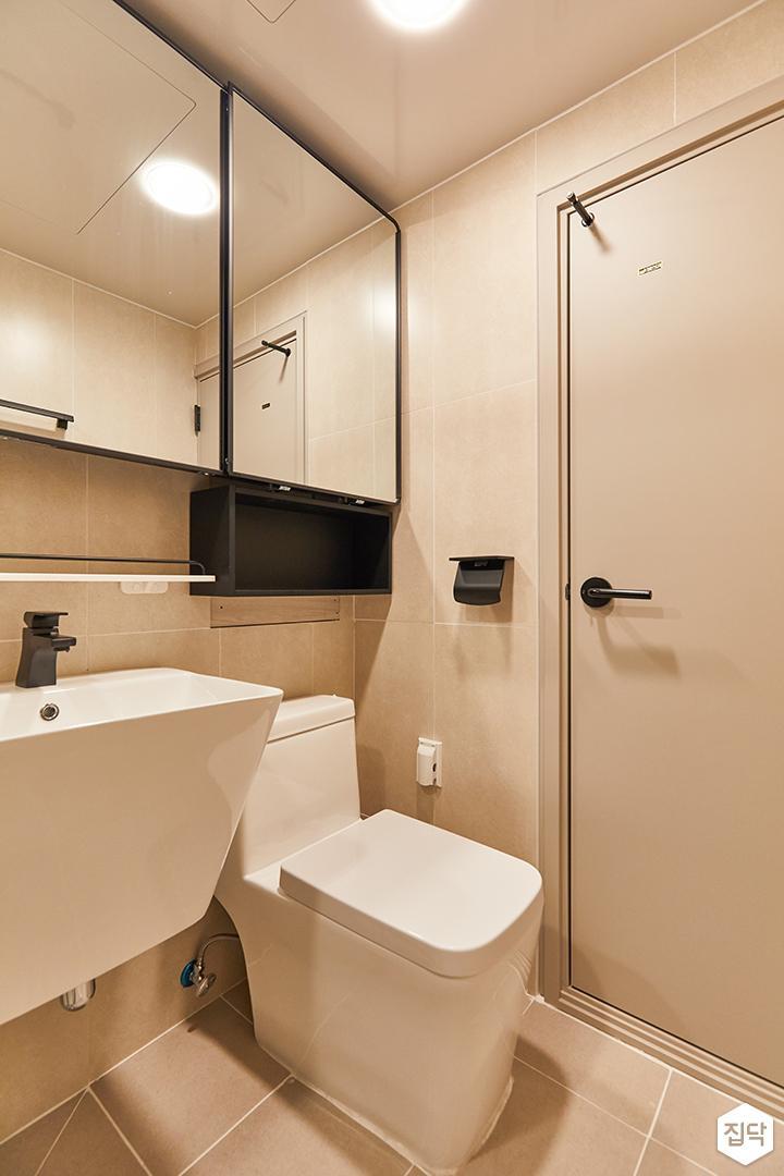 블랙,아이보리,모던,욕실,포세린,수납장,세면대,거울