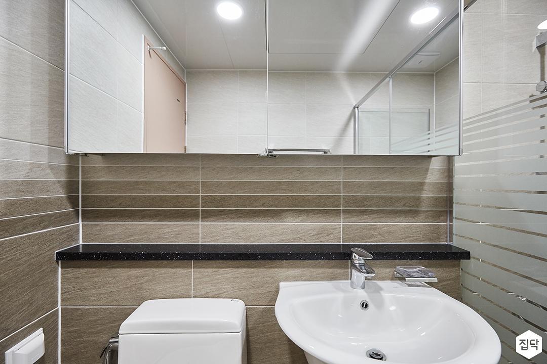 화이트,그레이,모던,심플,욕실,원형직부등,수납장,세면대,거울