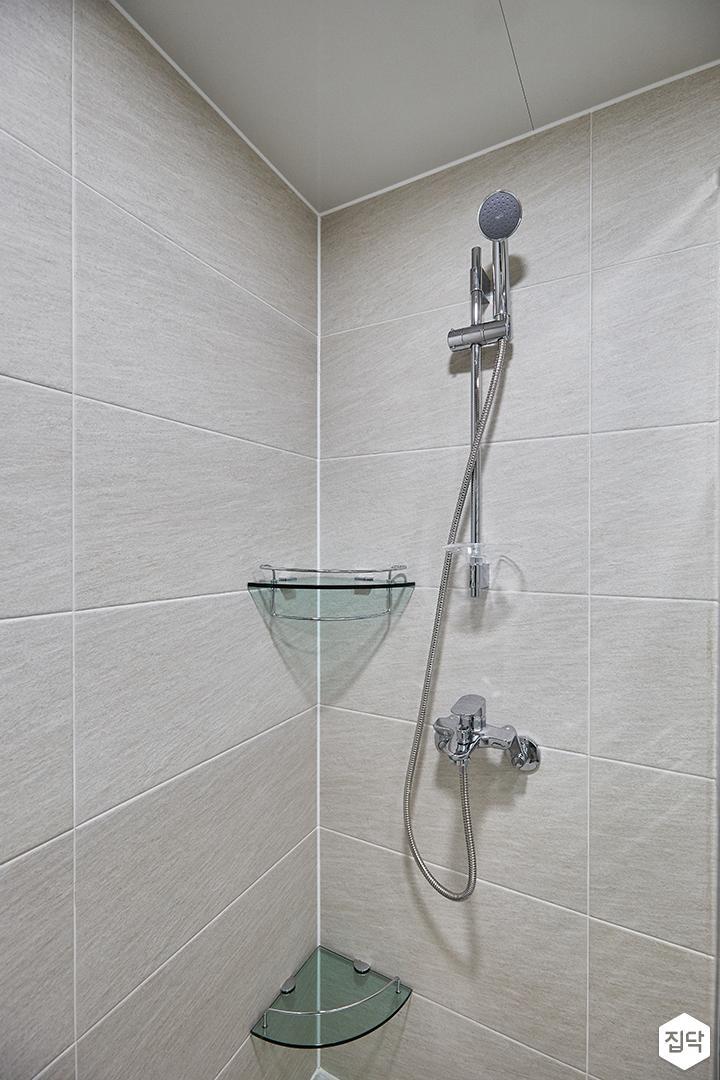 그레이,모던,심플,욕실,샤워기,코너선반