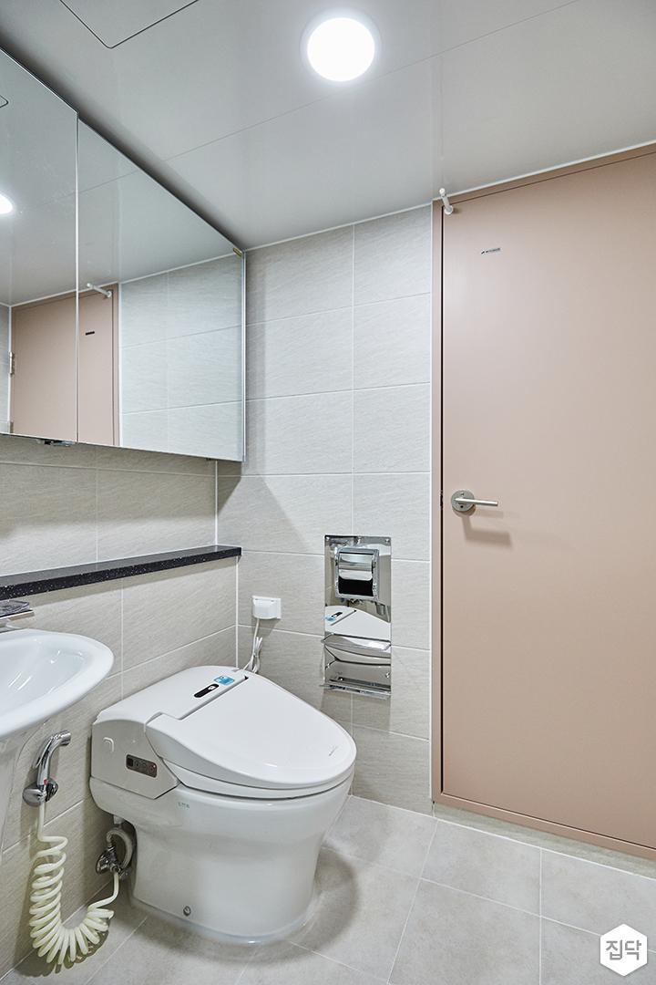 그레이,핑크,모던,심플,욕실,원형직부등,세면대,수납장,거울