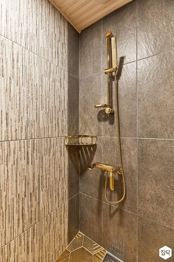그레이,골드,럭셔리,욕실,패턴타일,샤워기