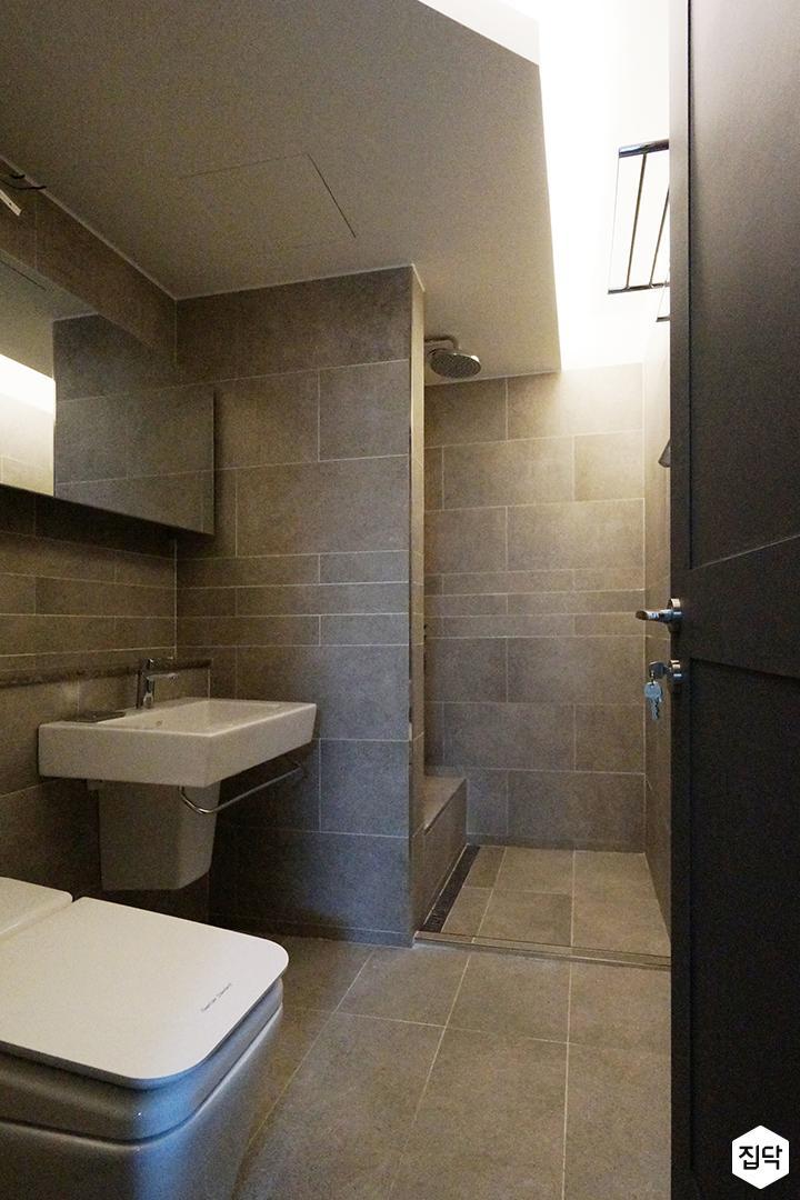그레이,모던,심플,욕실,포세린,간접조명,세면대,수납장,거울