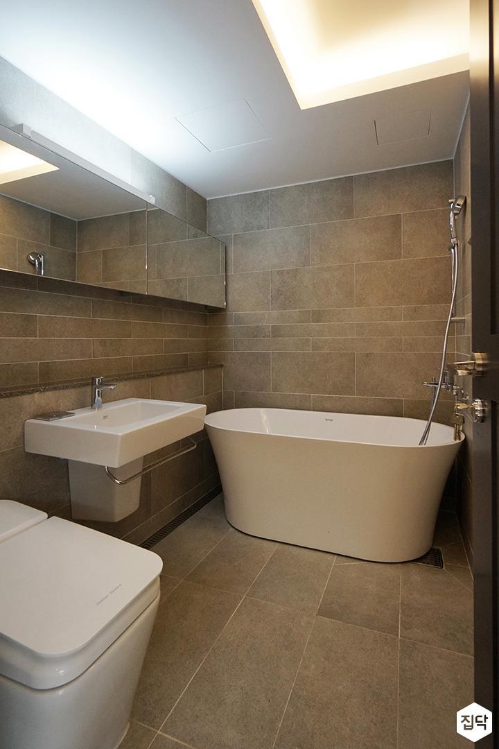 그레이,모던,심플,욕실,포세린,간접조명,세면대,수납장,거울,욕조
