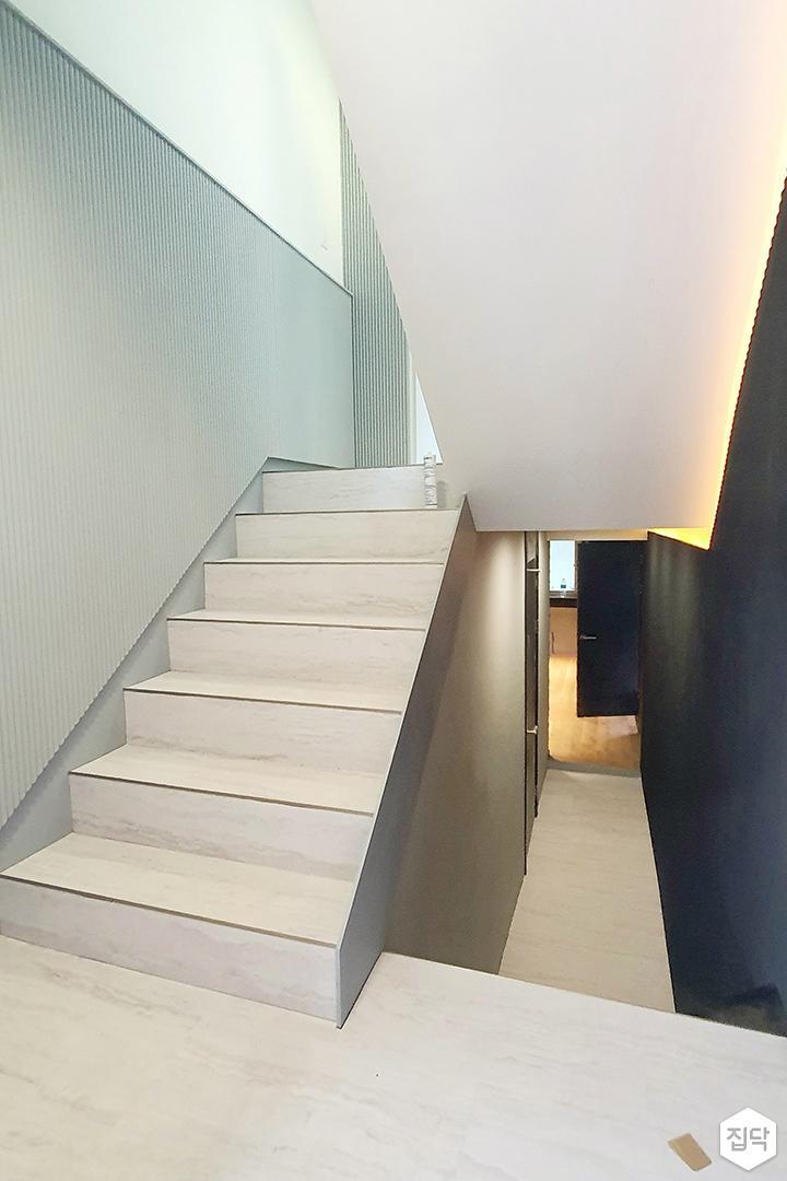 그레이,블루,내추럴,심플,계단,간접조명