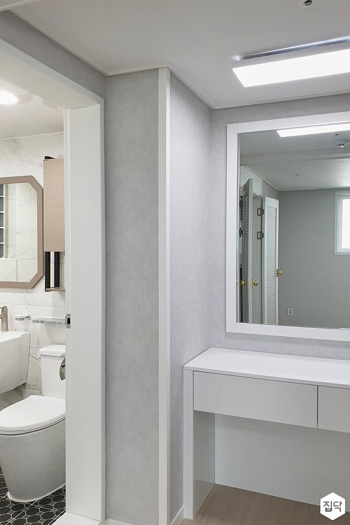 화이트,그레이,모던,심플,욕실,파우더룸,방