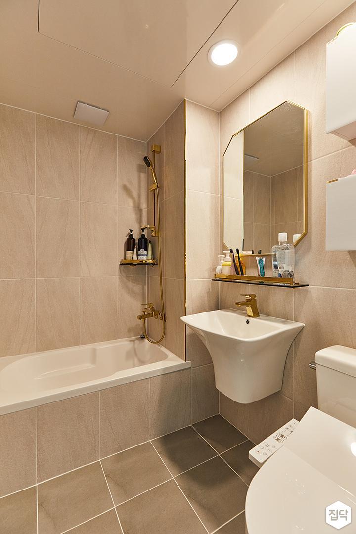 아이보리,골드,모던,내추럴,욕실,포세린,수납장,세면대,욕조,거울