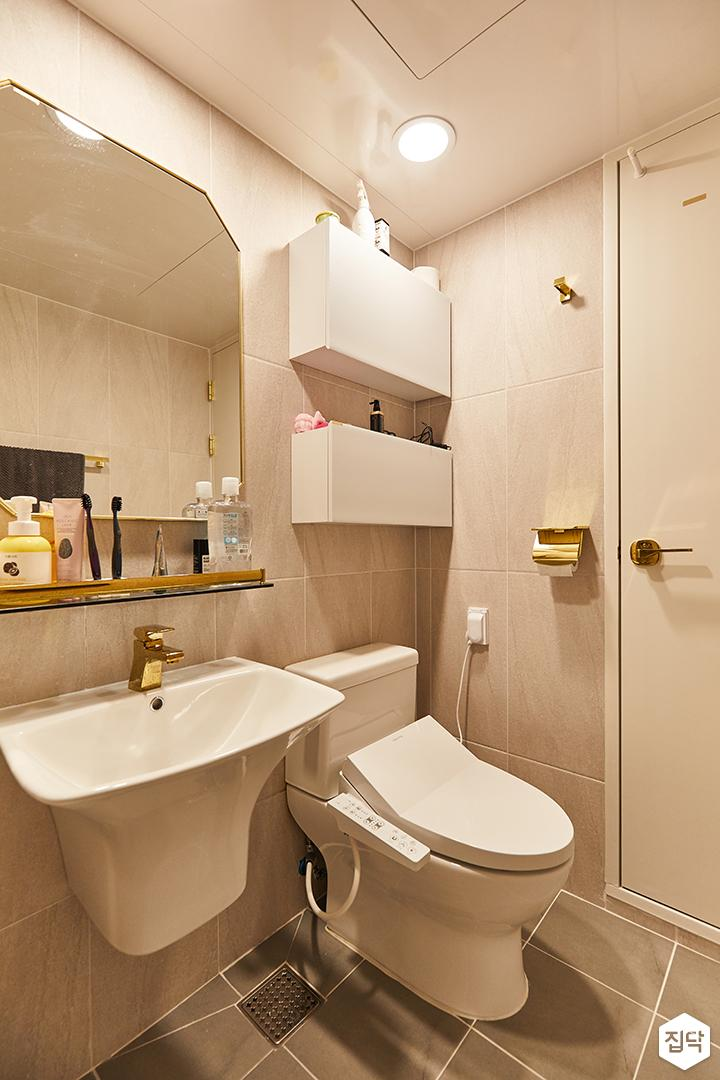 아이보리,골드,모던,내추럴,욕실,포세린,수납장,세면대,거울