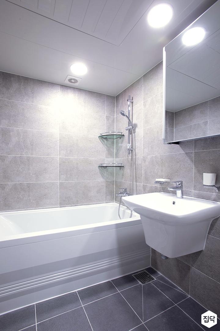 그레이,모던,심플,욕실,원형직부등,세면대,수납장,거울,샤워기,코너선반,욕조