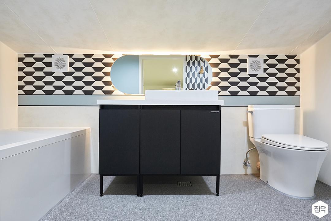 화이트,그레이,내추럴,심플,욕실,간접조명,세면대,수납장,거울,욕조