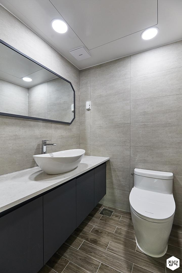 화이트,블랙,모던,욕실,세면대,거울,수납장