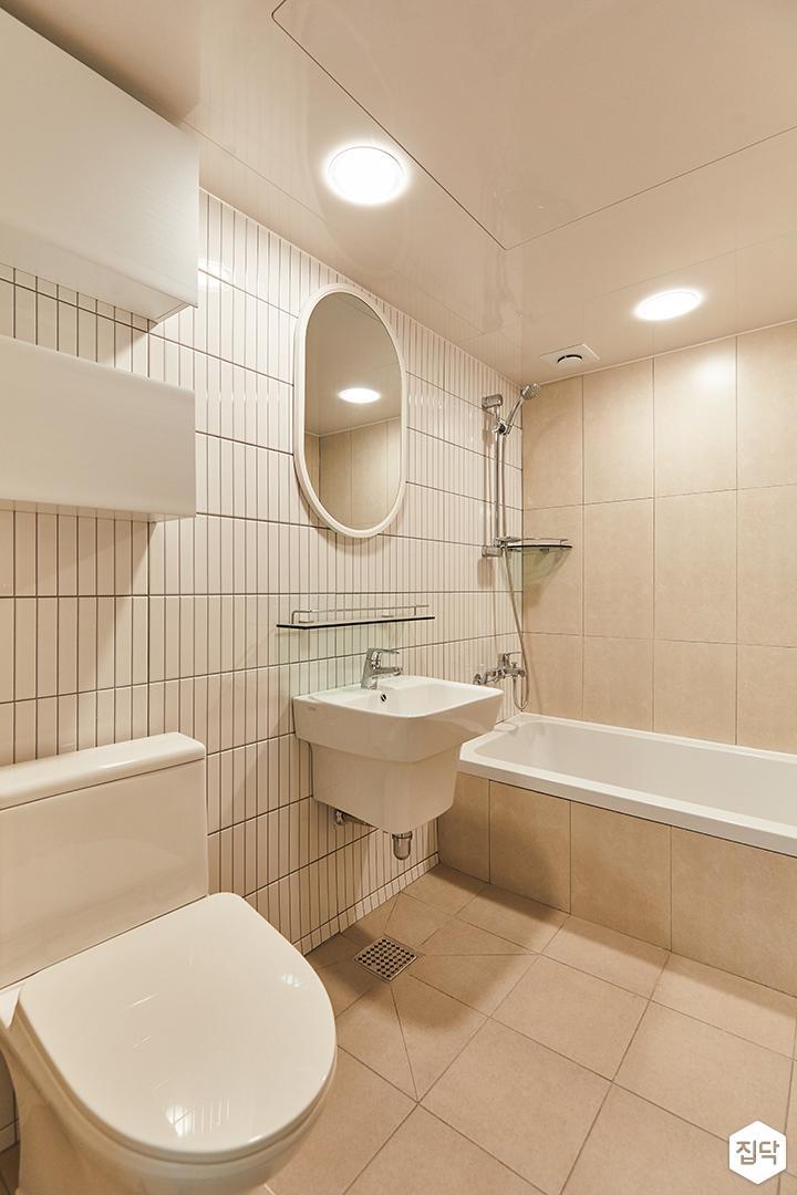화이트,아이보리,모던,욕실,욕실타일,포세린,욕조,세면대,수납장,거울