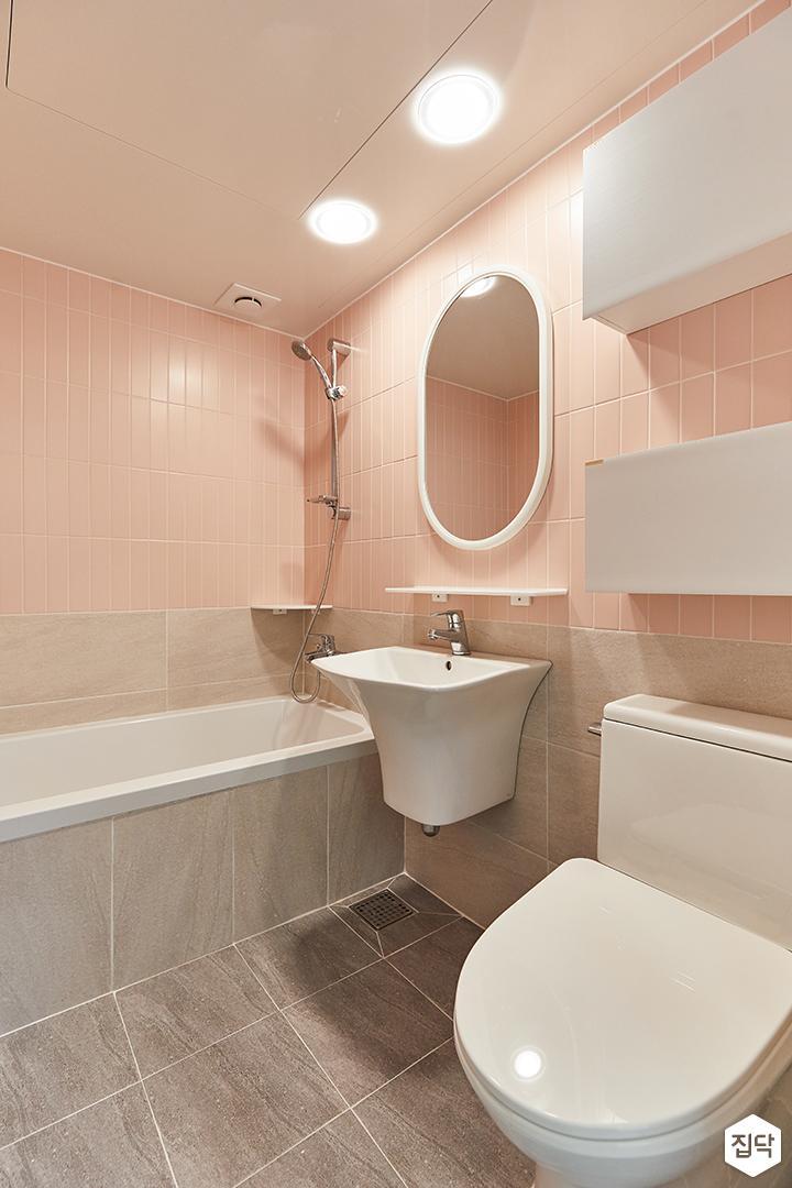 화이트,핑크,뉴클래식,욕실,포세린,매립등,욕조,세면대,수납장,거울