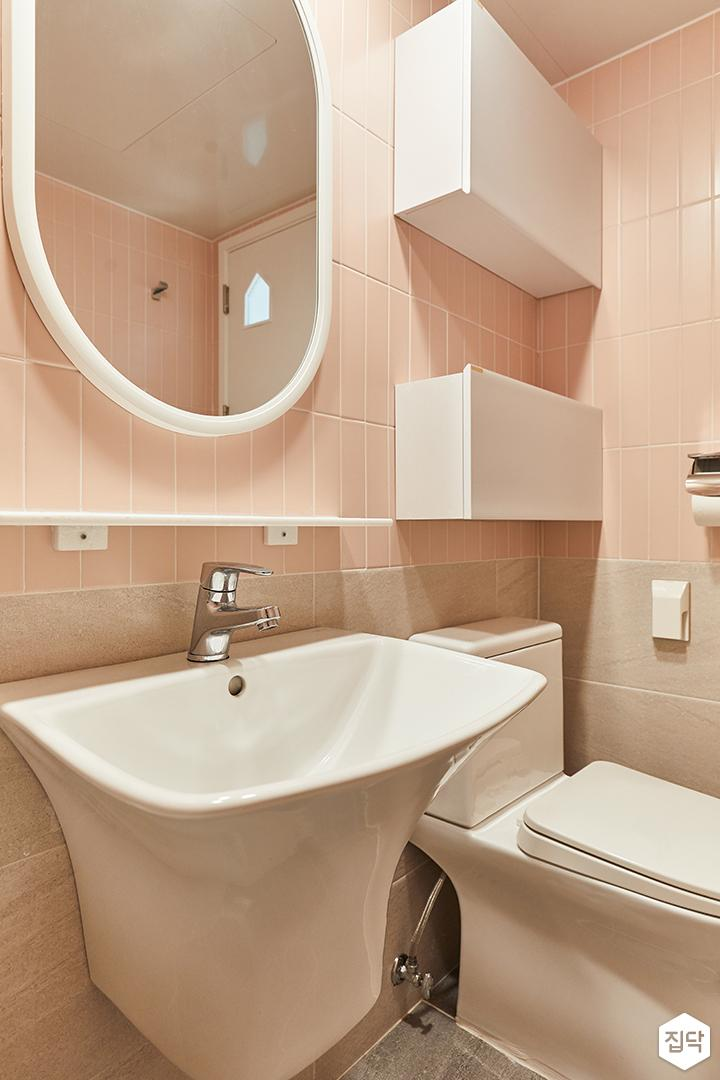 화이트,핑크,뉴클래식,욕실,포세린,세면대,수납장,거울