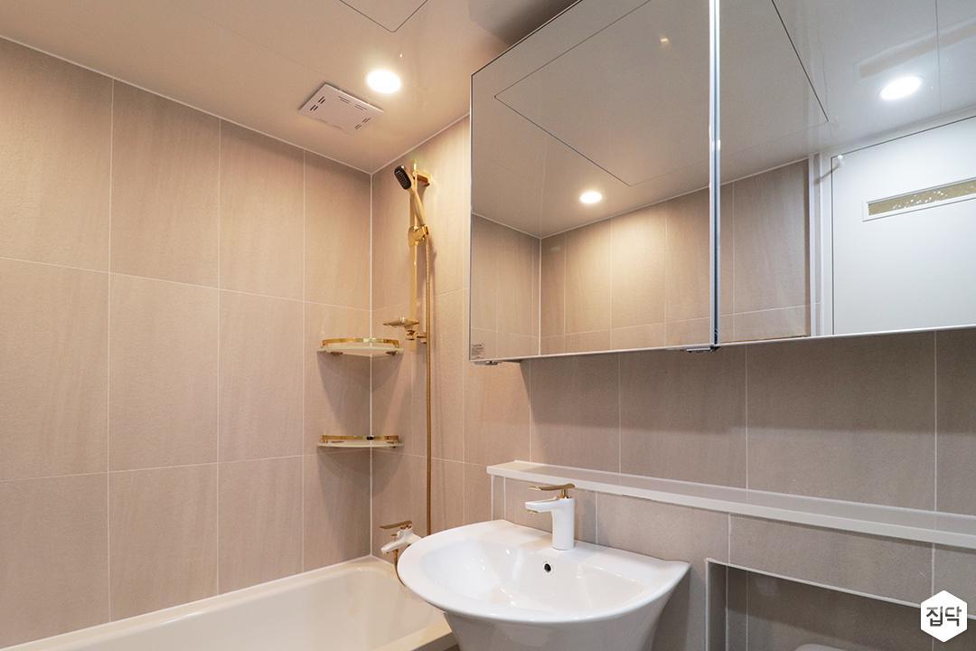그레이,골드,모던,심플,욕실,세면대,수납장,거울,수전,샤워기,코너선반,욕조
