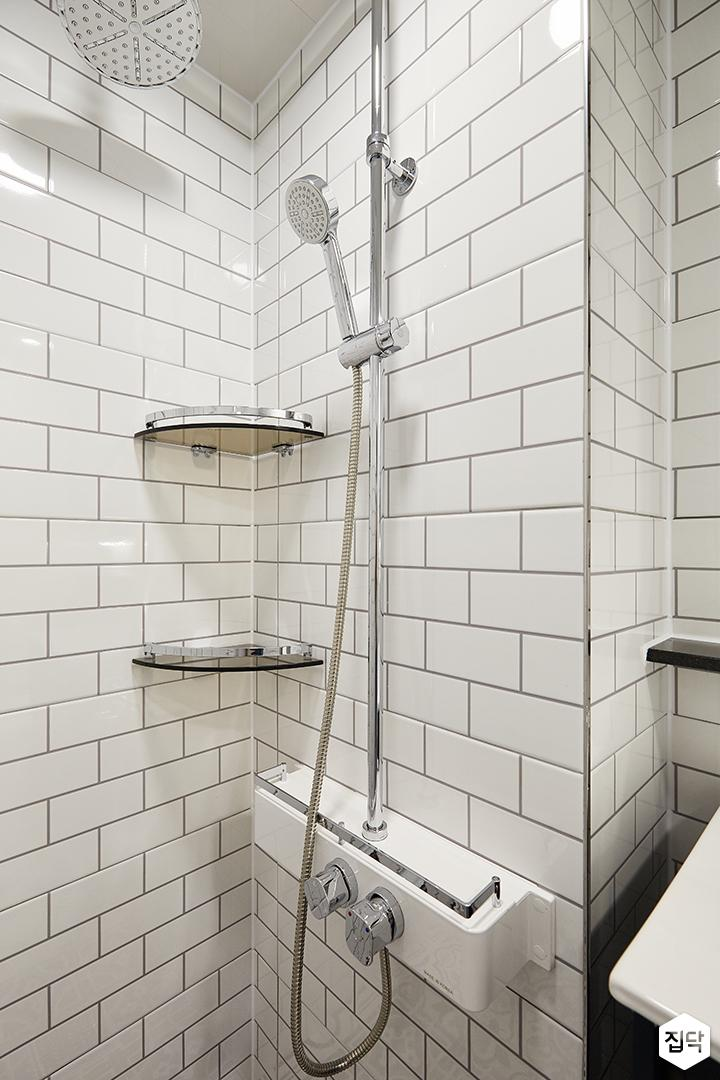화이트,내추럴,심플,욕실,샤워기,코너선반