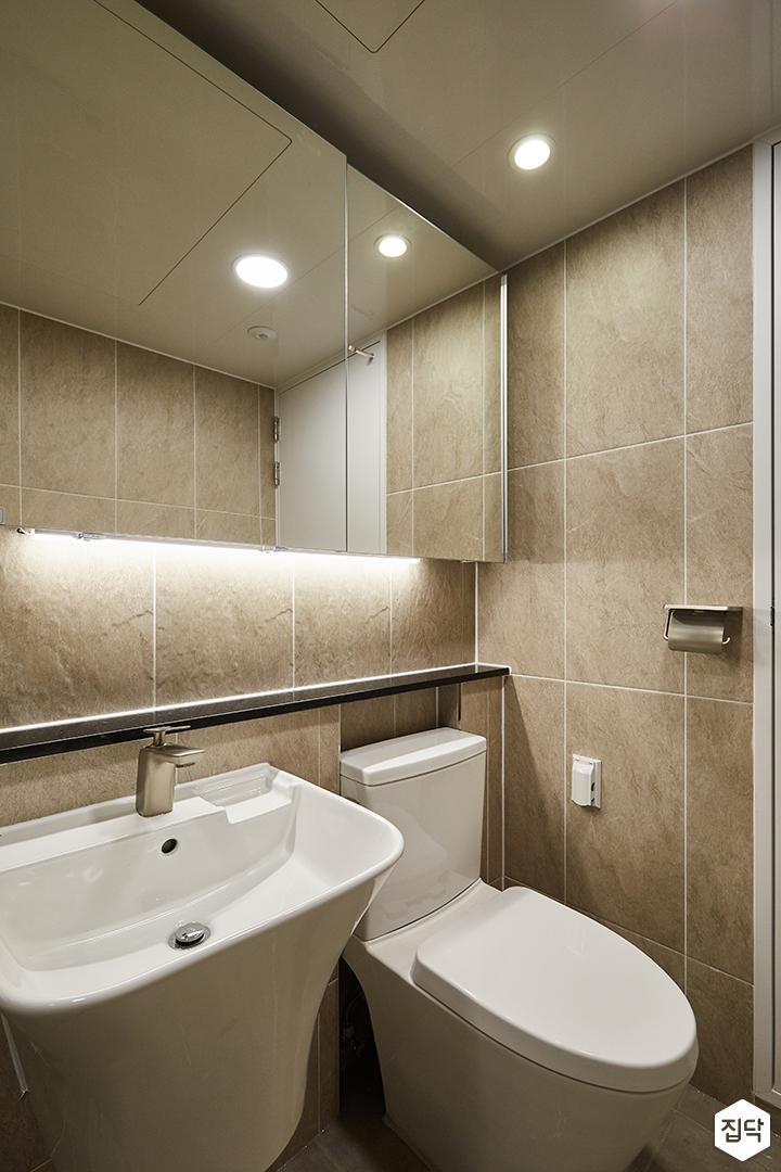 그레이,브라운,모던,심플,욕실,원형직부등,간접조명,세면대,수납장,거울