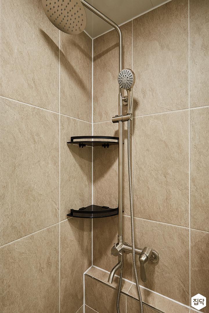 그레이,브라운,모던,심플,욕실,샤워기,코너서반
