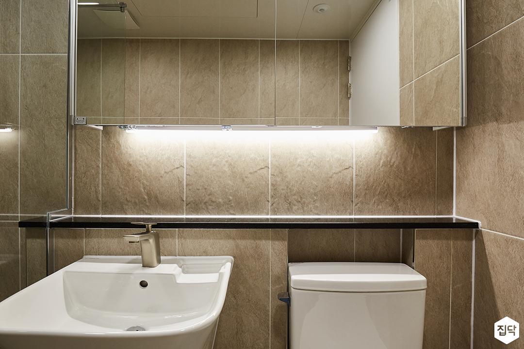 그레이,브라운,모던,심플,욕실,간접조명,세면대,수납장,거울