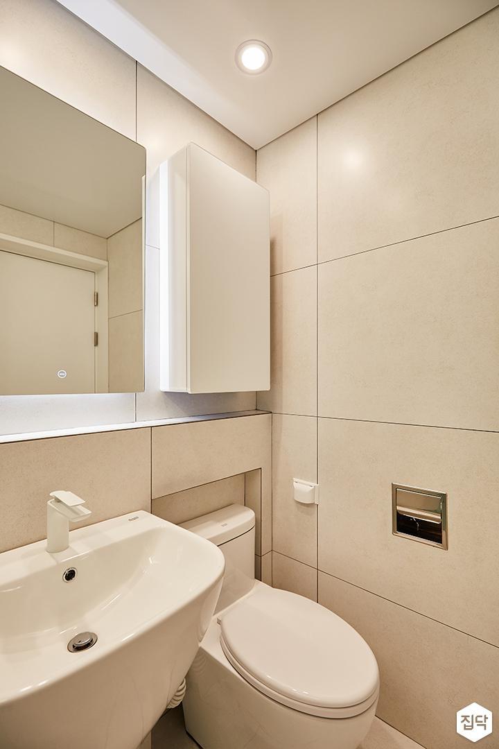 그레이,내추럴,심플,욕실,다운라이트조명,간접조명,세면대,수납장,거울