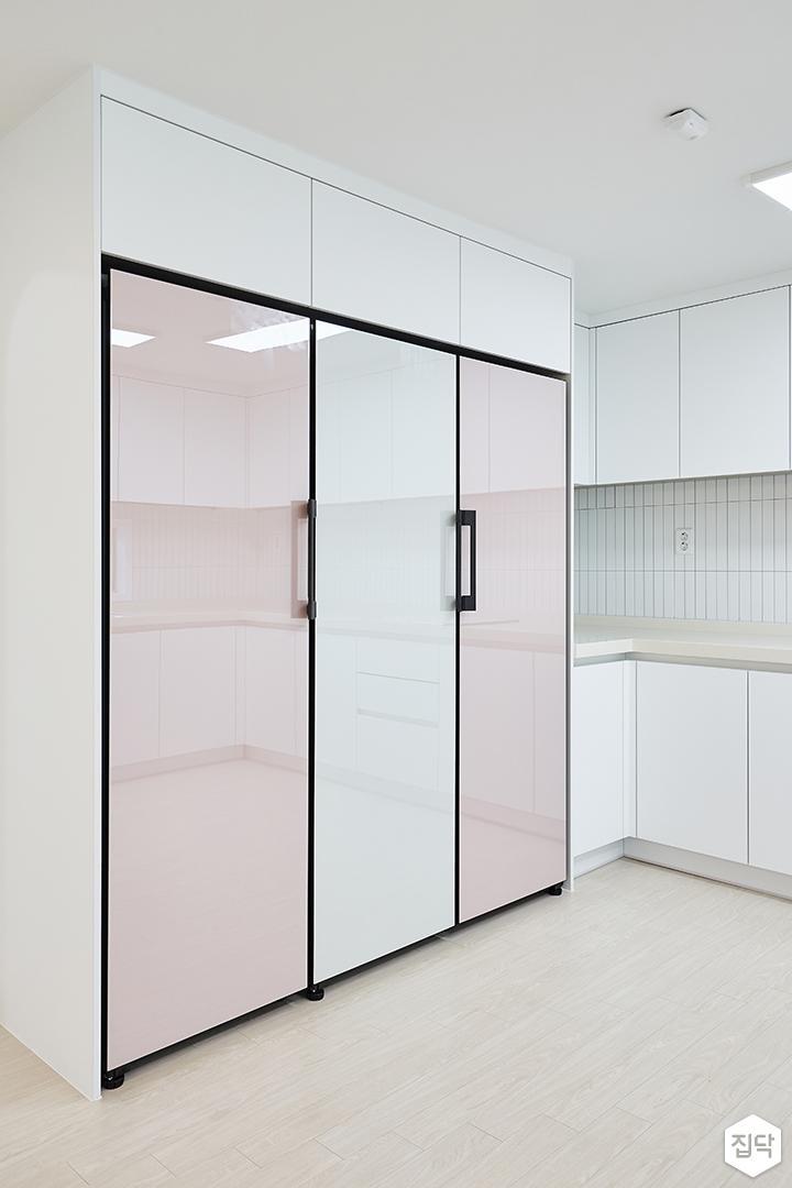 화이트,모던,심플,주방,수납장,냉장고장