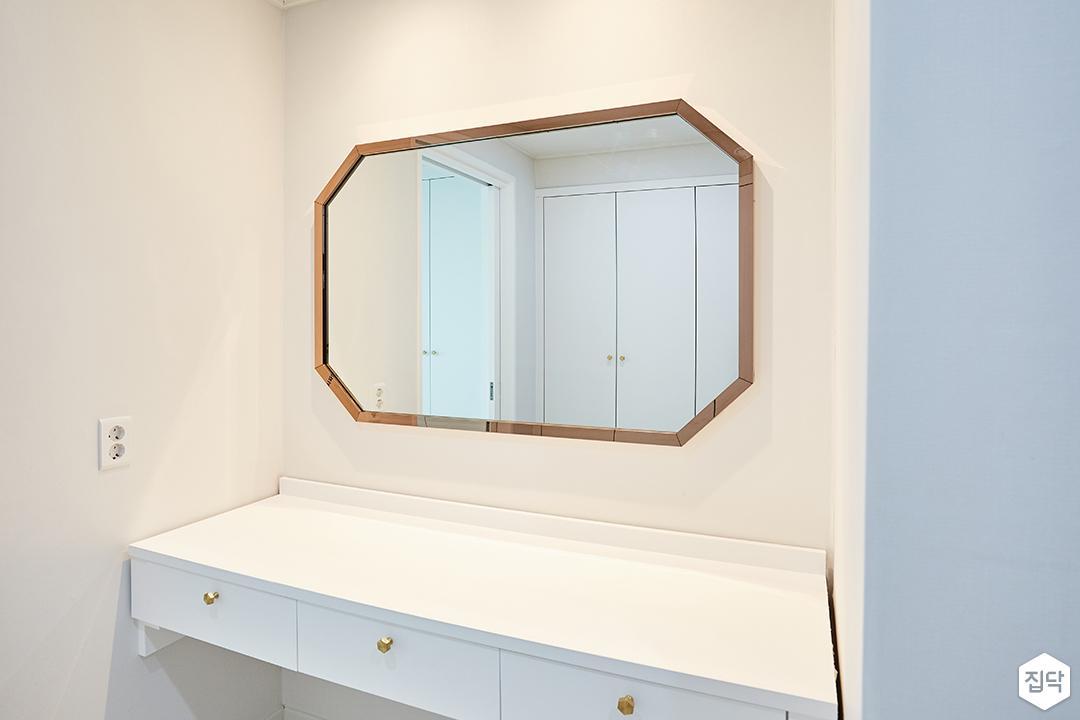 화이트,골드,모던,심플,방,파우더룸,거울,수납장