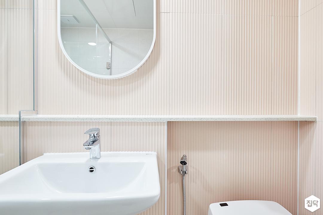 화이트,핑크,내추럴,심플,욕실,세면대,거울
