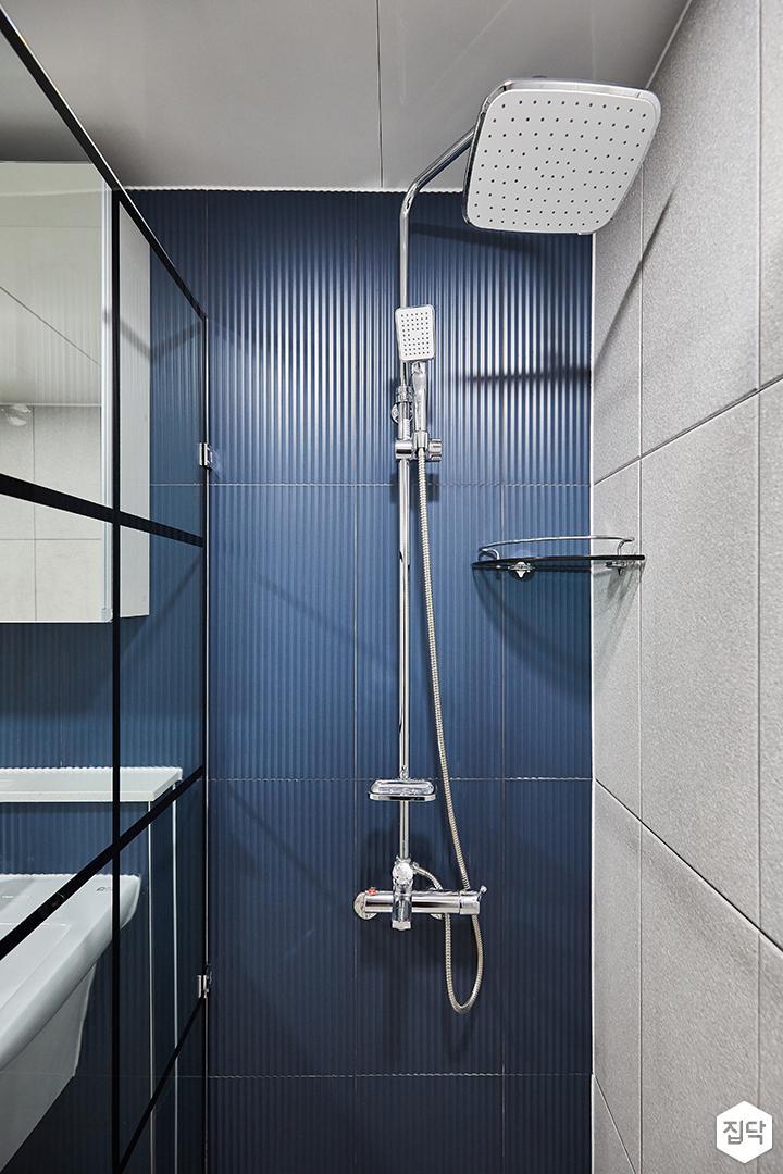 그레이,블루,모던,심플,욕실,세면대,샤워기,코너선반