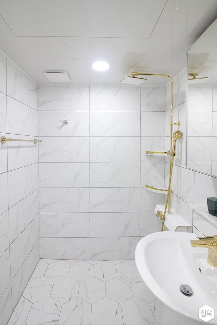 화이트,골드,내추럴,심플,욕실,원형직부등,세면대,샤워기