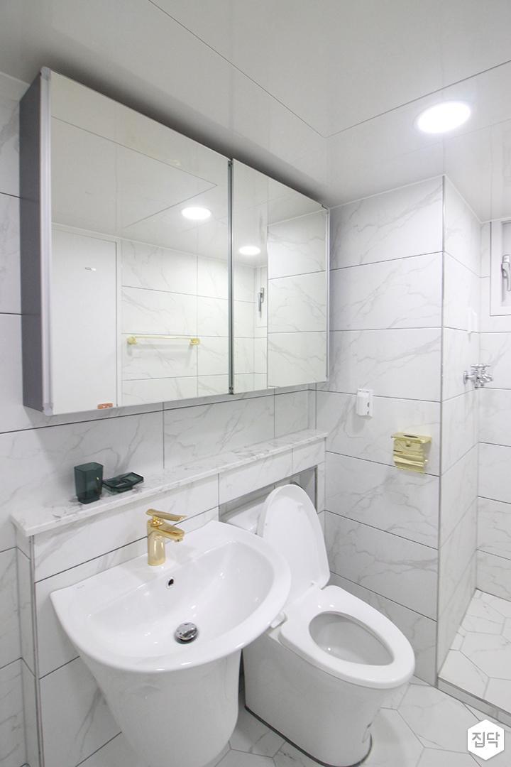 화이트,골드,내추럴,심플,욕실,원형직부등,세면대,수납장,거울