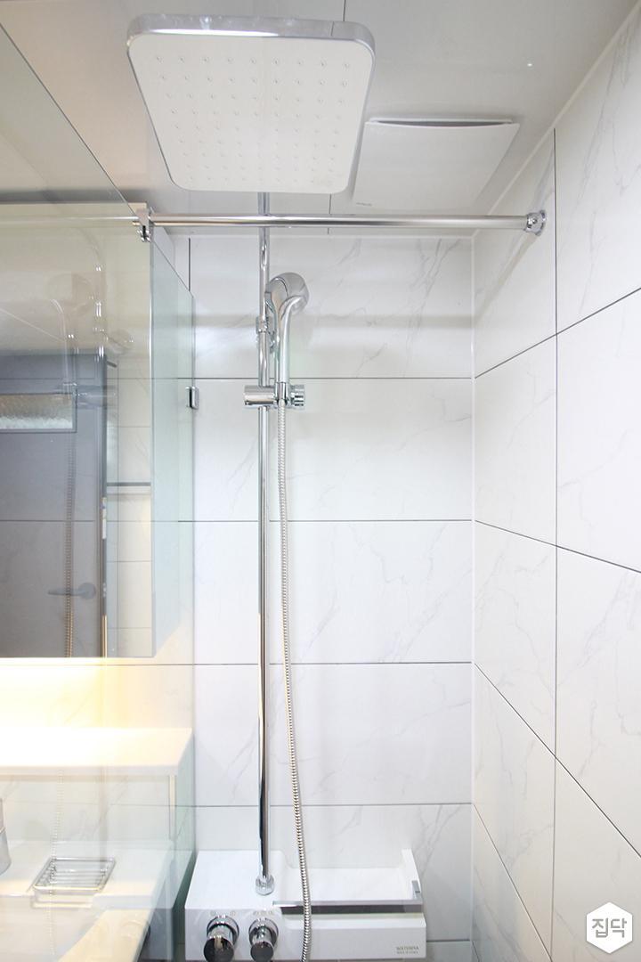 화이트,모던,심플,욕실,샤워기