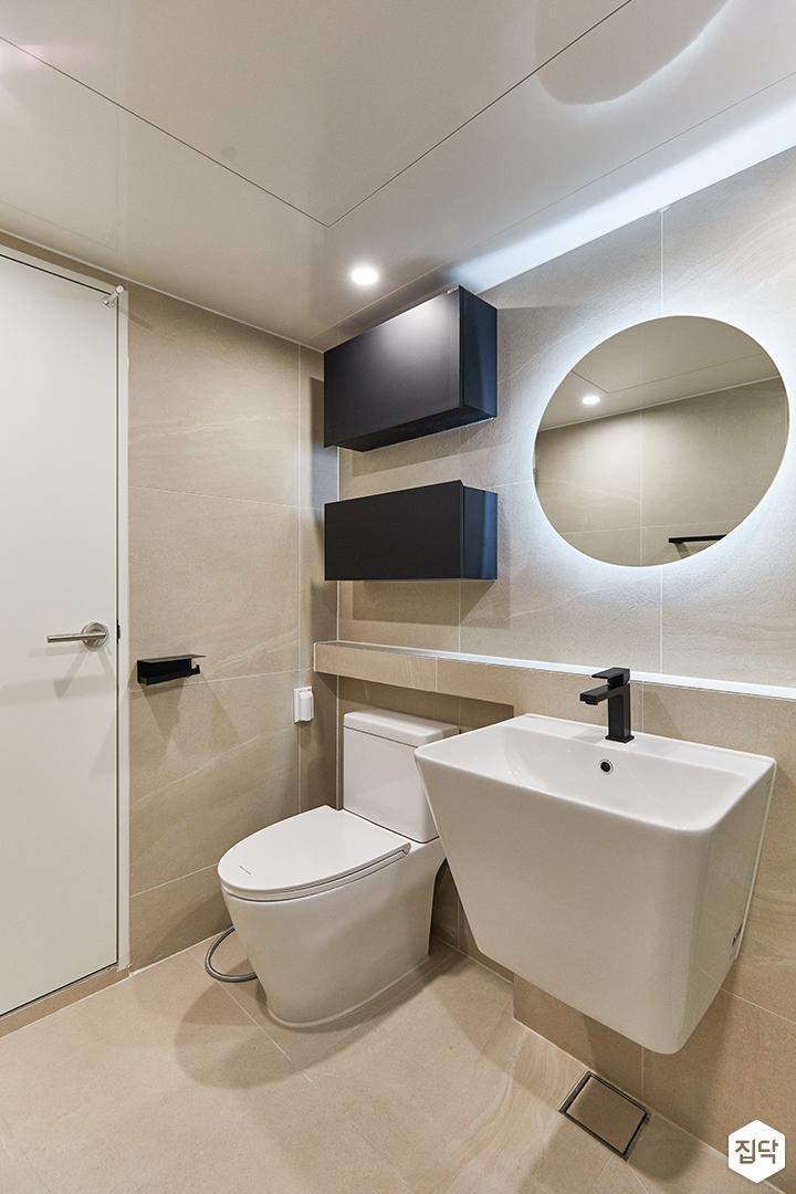 아이보리,블랙,모던,내추럴,욕실,간접조명,거울,세면대,수납장