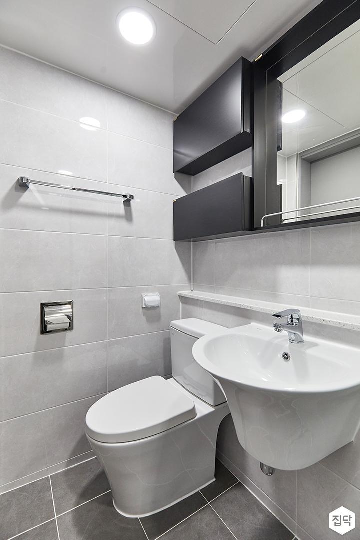 화이트,블랙,미니멀,심플,욕실,세면대,수납장,거울