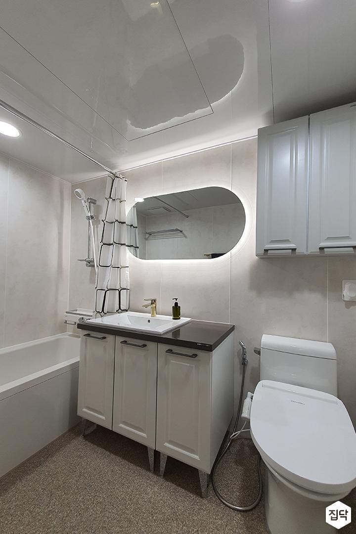 화이트,모던,심플,욕실,세면대,수납장,거울,욕조