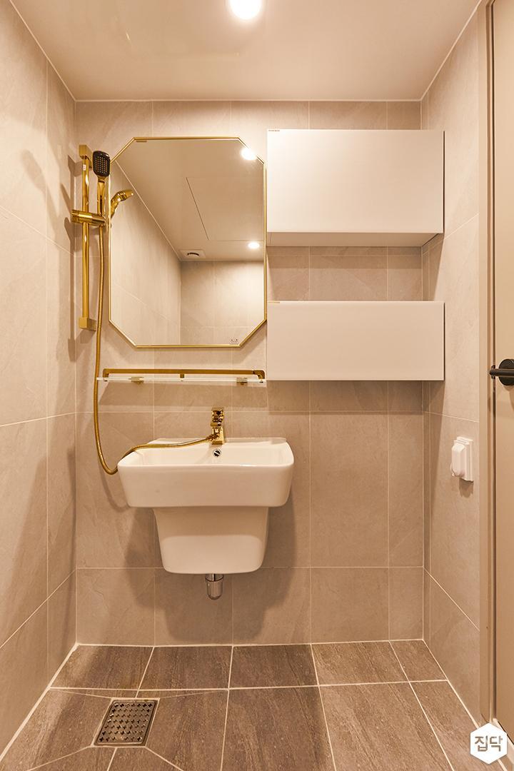 아이보리,골드,미니멀,심플,욕실,세면대,샤워기