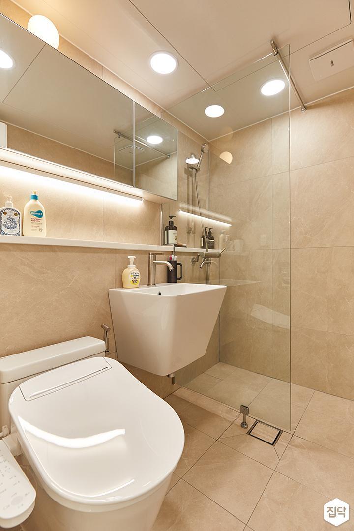 아이보리,화이트,모던,내추럴,욕실,포세린,간접조명,세면대,유리파티션