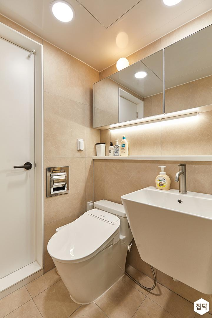 아이보리,화이트,모던,내추럴,욕실,포세린,간접조명,세면대
